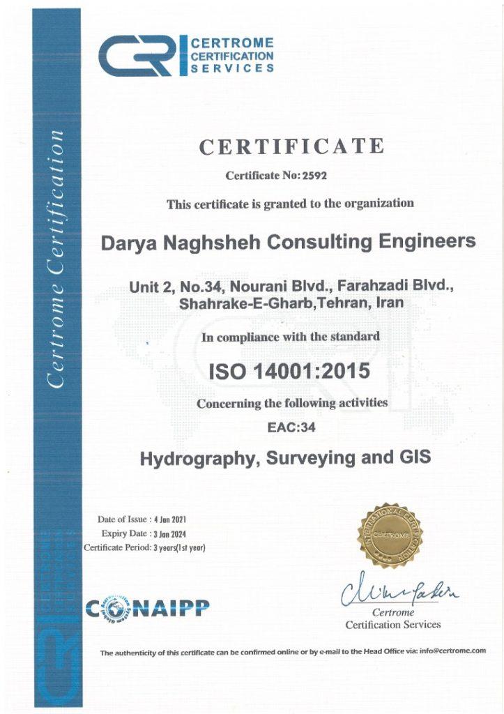 iso 14001-گواهینامه- مهندسین مشاور دریانقشه